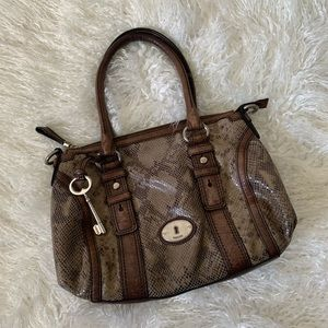 Fossil brown leather and snakeskin hobo bag